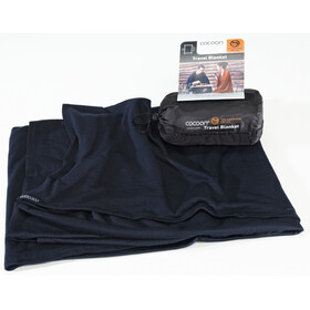 Cocoon Travel Blanket Merinould/silke, graphite blue